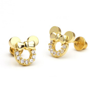 14k Gold Plated Minnie Mouse Children Screwback Earrings With 925 Silver Post Baby, Toddler, Kids & Children