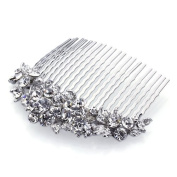 DoubleAccent Hair Jewellery. Crystal Flowers Hair Comb White Colour