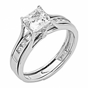 14k Yellow OR White Gold SOLID Princess Square Engagement Ring & Wedding Band Set