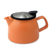 FORLIFE Bell Ceramic Teapot with Basket Infuser, 16-Ounce/470ml, Carrot