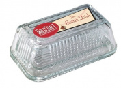 Tablecraft H122 Ribbed Glass Butter Dish