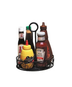American Metalcraft WBCC8 Wrought Iron Condiment Rack with Scroll Design, 20cm , Black