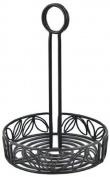 American Metalcraft LDCC16 Wrought Iron Condiment Rack with Leaf Design, 16cm , Black