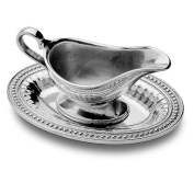 Wilton Armetale Flutes and Pearls Gravy Boat with Tray, Oval, 6-1/4- Inch by 23cm
