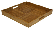 Simply Bamboo 43cm X 43cm Square Ottoman Serving Tray, Natural Bamboo