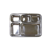 Stainless Steel Rectangular Divided Dinner Tray 5 sections
