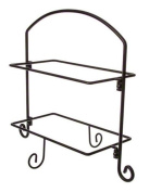 American Metalcraft IS11 Wrought Iron 2-Tier Ironwork Rectangular Plates Stand, Small, Black