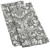 DII Cotton Damask Kitchen Dish Towels, 70cm x 46cm Set of 2, Low Lint Decorative Tea Towel for Everyday Cooking and Baking-Grey