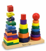 25-Piece Wooden Geometric Stacker Toddler Toy
