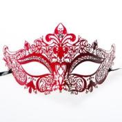 Red Laser Cut Venetian Half Mask