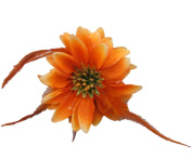 Beautiful Orange Double-Sided Flowers w/ Glitter & Matching Feathers Hair Clip
