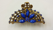 Gorgeous Vintage Jewellery Crystal Rhinestone Flower Design Fashion Hair Claws Hair Clips Hair Sticks - X-large Size - Sapphire Blue Colour -For Thick Hair Beauty Tools