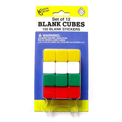 BLANK DICE WITH STICKERS SET OF 12