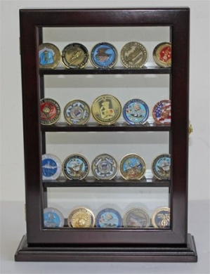 Military Challenge Coin Display Case Counter Top Holder Stand Shadow Box, Glass door, Mahogany Finish (COIN14-MA)