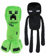 Official Minecraft Overworld 18cm Creeper & 25cm Enderman Plush SET of 2