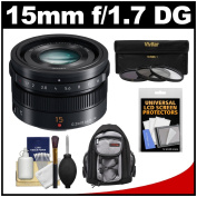 Panasonic Lumix G 15mm f/1.7 Leica DG Summilux Lens with 3 UV/CPL/ND8 filter s + Backpack + Kit for G5, G6, GF5, GF6, GH3, GH4, GM1, GX7 Cameras