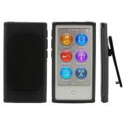 Black Belt Clip TPU Rubber Skin Case Cover for Apple iPod Nano 7th Generation 7G 7