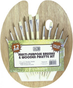 US Art Supply® 12 Piece Brush Set with 23cm x 30cm Wood Palette