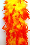 80 Gramme Chandelle Feather Boa 2 Yards - YELLOW w/ ORANGE Tips