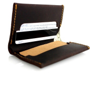 Genuine Italian Leather Handmade Mini Miniature Mens Half Wallet Money Id Credit Cards Holder Compact Handcraft