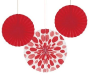 Club Pack of 18 Classic Red Hanging Tissue Paper Fan Party Decorations 30cm & 41cm