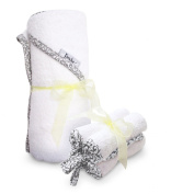 100cm x 80cm Absorbent Hooded Towel and 4 Wash Cloth Set, White, Frenchie Mini Couture