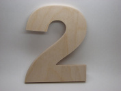 LetterWorx 20cm Wooden Number 2 - Arial Font | Unfinished Baltic Birch Wood Letter | 20cm Tall