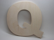 LetterWorx 20cm Wooden Letter Q - Arial Font | Unfinished Baltic Birch Wood | 20cm Tall