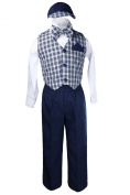 Unotux Boy Formal Wedding Navy Blue Gingham Cheques Vest Bow Suits Sets Hat 2T-4T