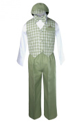 Unotux Boy Formal Wedding Sage Green Gingham Cheques Vest Bow Suits Set Hat 2T-4T