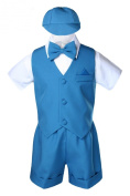 Unotux Teal Infant Boys Toddler Eton 5pc Formal Vest Shorts Set Suits Hat S-4T