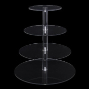 Jusalpha® 4-Tier Acrylic Round Wedding Cake Stand/ Cupcake Stand Tower/ Dessert Stand/ Pastry Serving Platter/ Food Display Stand