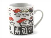 Japanese 8.9cm H Porcelain Sushi Tea Cup Mug Nigiri Sushi Design, Made in Japan