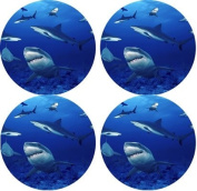 Sharks Rubber Round Coaster set (4 pack) Great Gift Idea