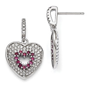 Sterling Silver & CZ Brilliant Embers Heart Dangle Post Earrings