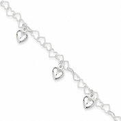 Sterling Silver Dangling Heart Bracelet