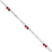 Sterling Silver Enamelled Double Heart Bracelet