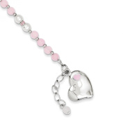 Sterling Silver Pearl and Rose Quartz Childs Heart Bracelet