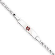 Sterling Silver Children's Medical ID Bracelet w/ Curb Link Chain