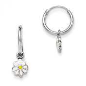 Sterling Silver RH Plated Child's Enamelled Daisy Hinged Hoop Earrings