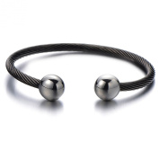 Magnetic Therapy Mens Stainless Steel Twisted Cable Bangle Bracelet Silver Black Two-tone Polished