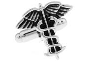 Silver Caduceus Medical Symbol Cufflinks By Mens Bodega - Cuff Links