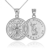 14k White Gold Fireman Protection Shield Medal of St Michael Firefighter Pendant Necklace