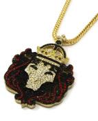 Mens Large 14k Gold Iced Lion King Face Pendant 90cm Necklace Franco Chain