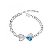 KATGI Fashion 18K White Gold Plated Beautiful Bow-knot Austrian Blue Crystal Bracelet