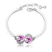 KATGI Fashion 18K White Gold Plated Lovely Charming Eyes Austrian Pink Crystal Bracelet