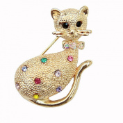 Adorable Gold Tone Kitty Brooch with Multi Coloured Crystals