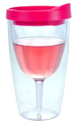 Wine Tumbler - 300ml Insulated Vino Double Wall Acrylic With Pink Drink Through Lid - Wine 2Go!