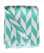 Fab Habitat Monroe Knit Throw, Turquoise and White