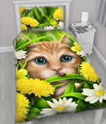 WSH 'Summer Cat' Childrens Duvet and Pillowcase Protector Covers Set